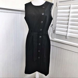 NWT Tahari ASL Black Sleeveless Belted Dress- 10